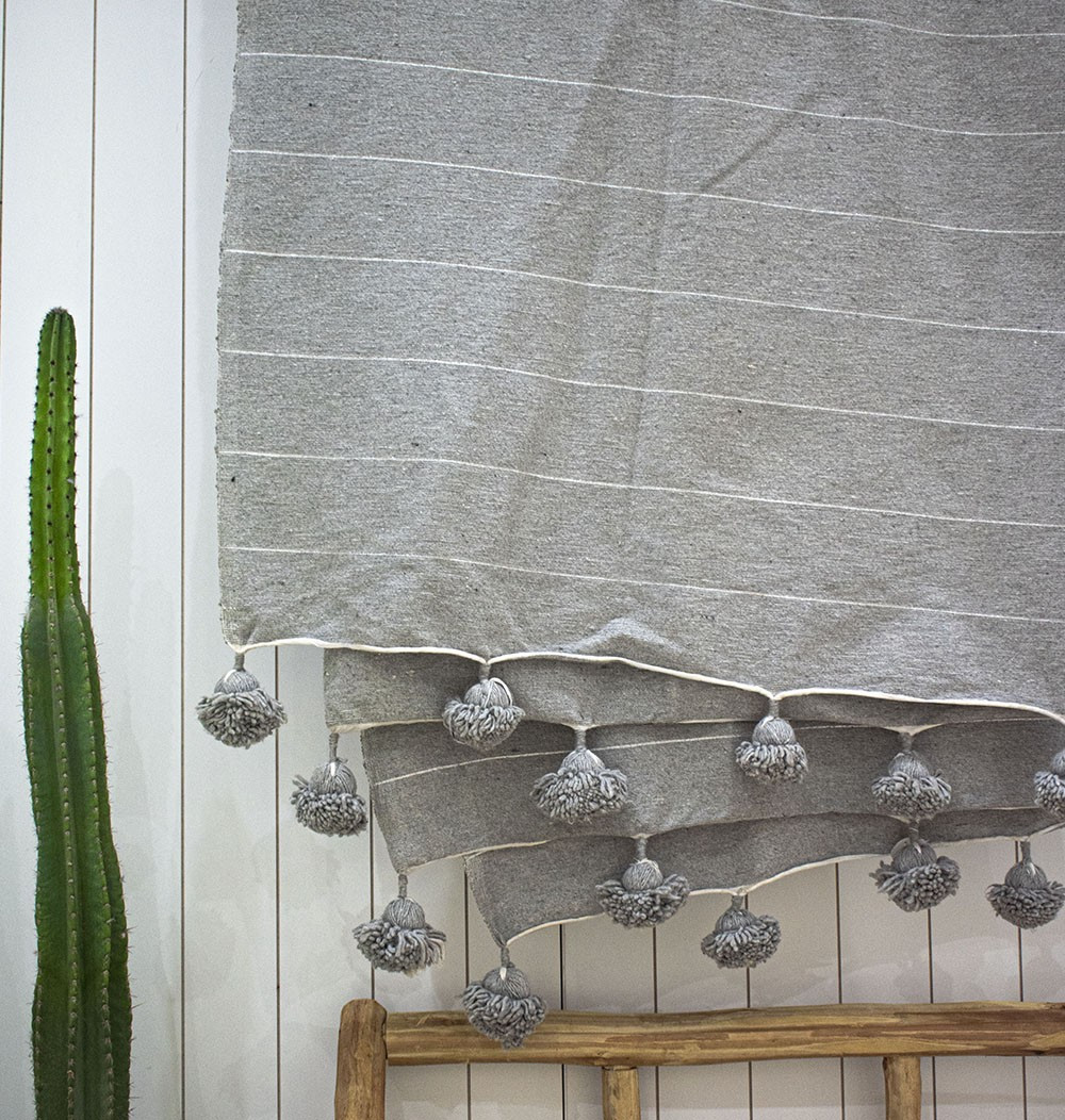 "Berber plaid ""Light gray white lines"""