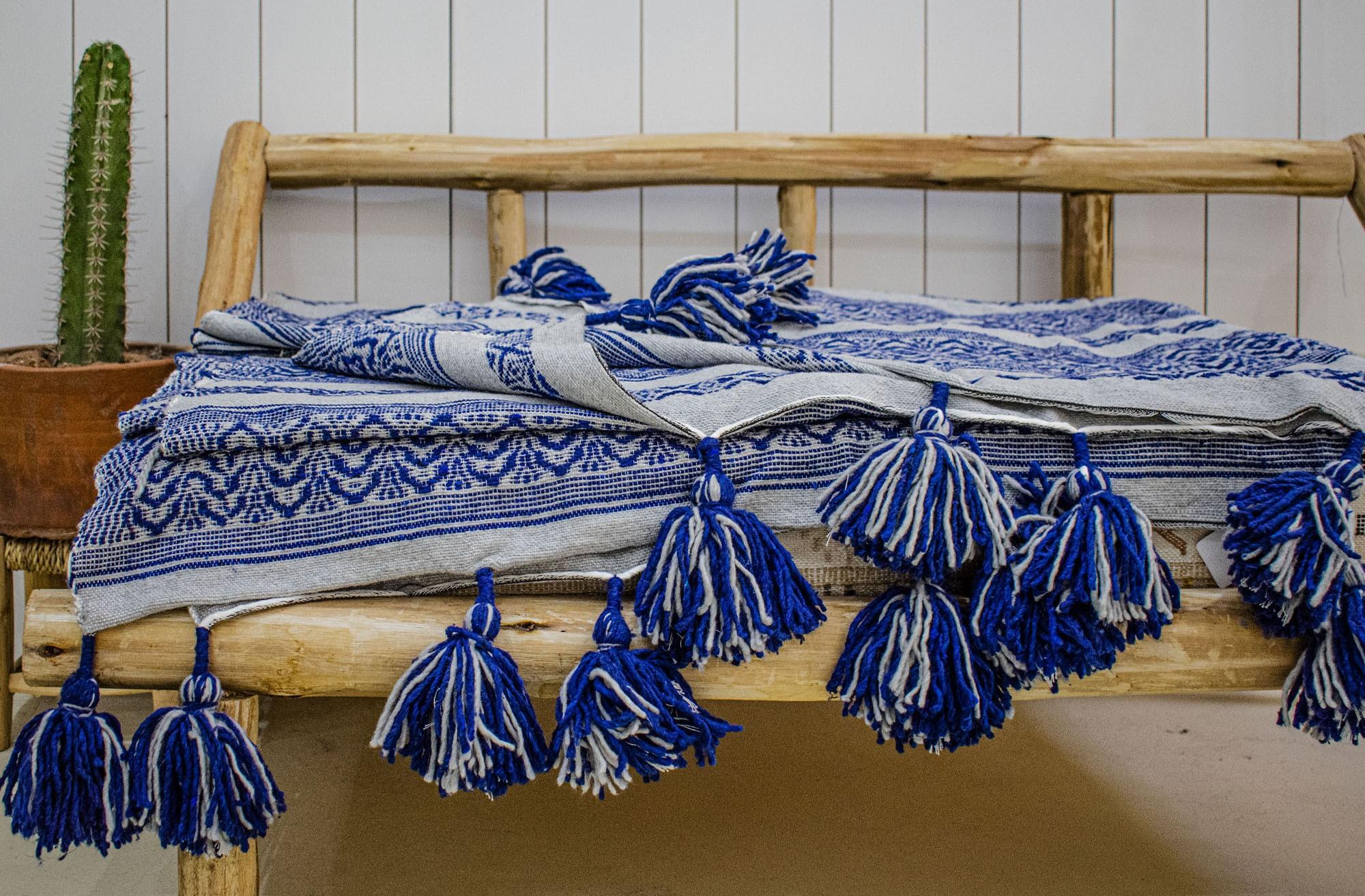 """Blue and White Berber Plaid """"Medallion"""""""