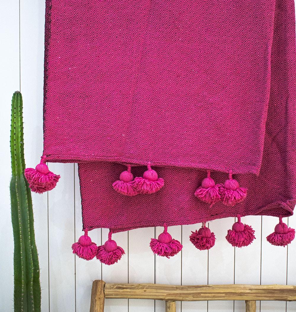 "Berber plaid ""Fuchsia and Pale Pink"""