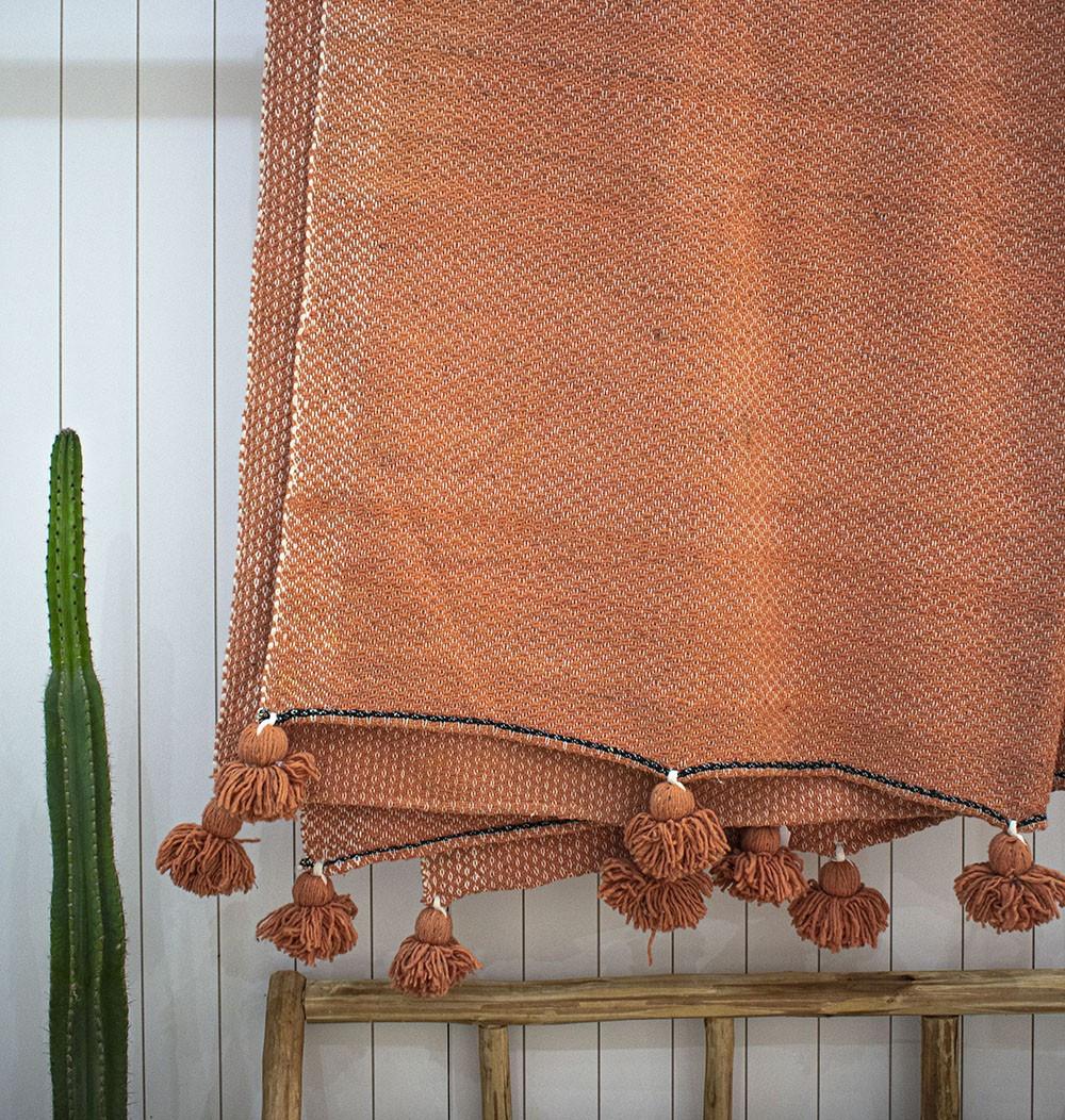 "Berber plaid ""Orange and Beige"""