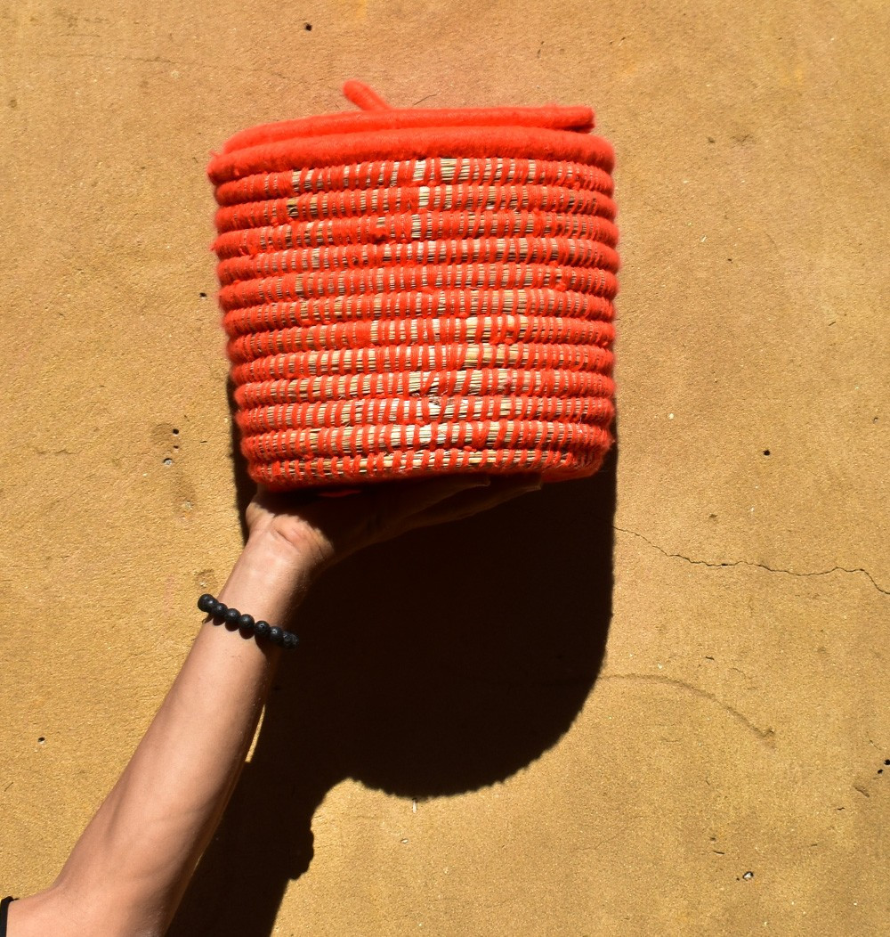 "Palm Tree Basket ""Orange"""
