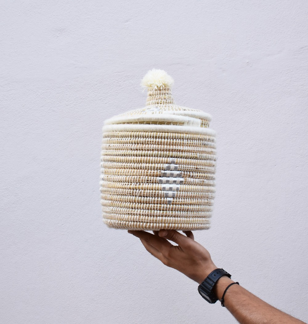 "Palm Tree Basket ""Snow"""
