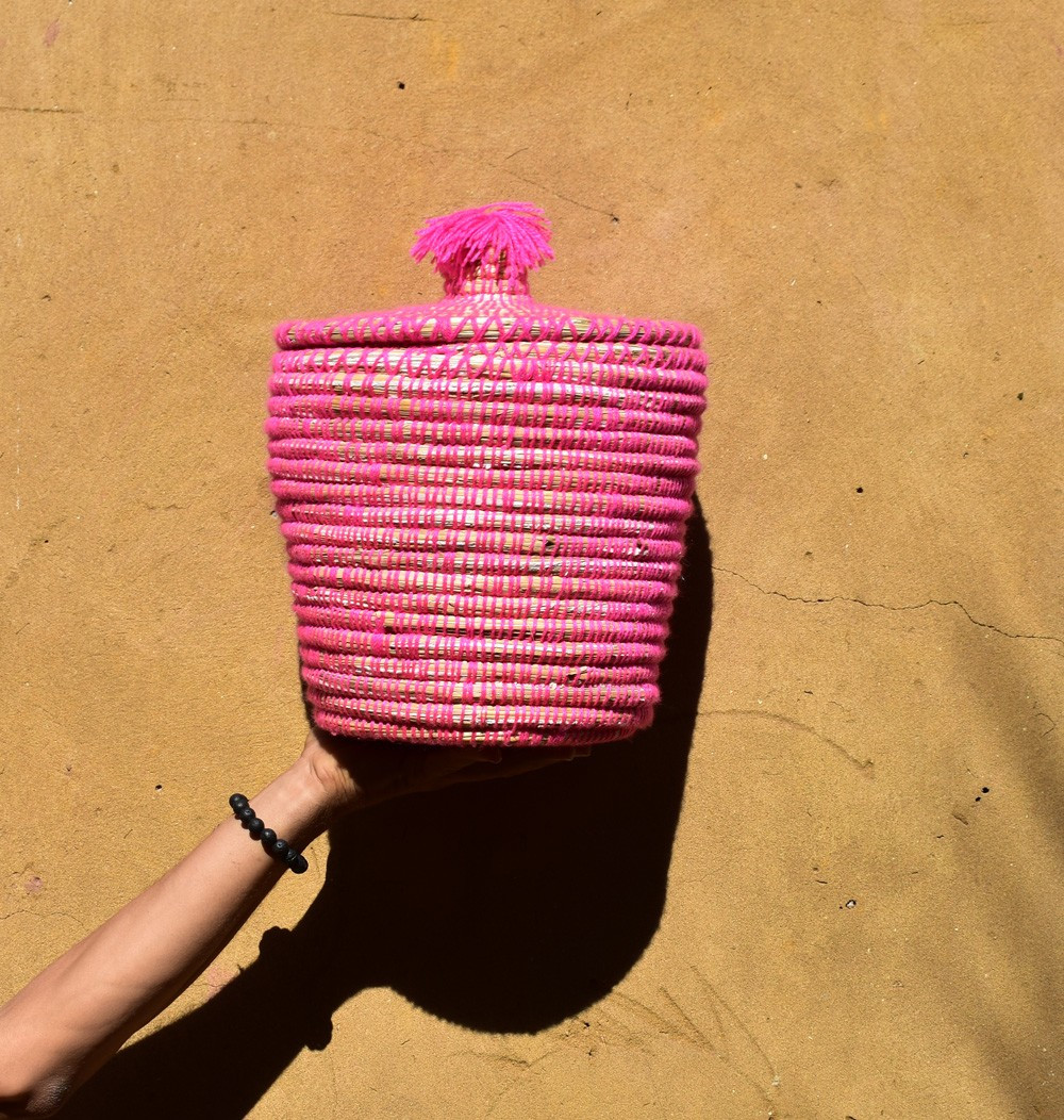 "Palm Tree Basket ""Pink"""
