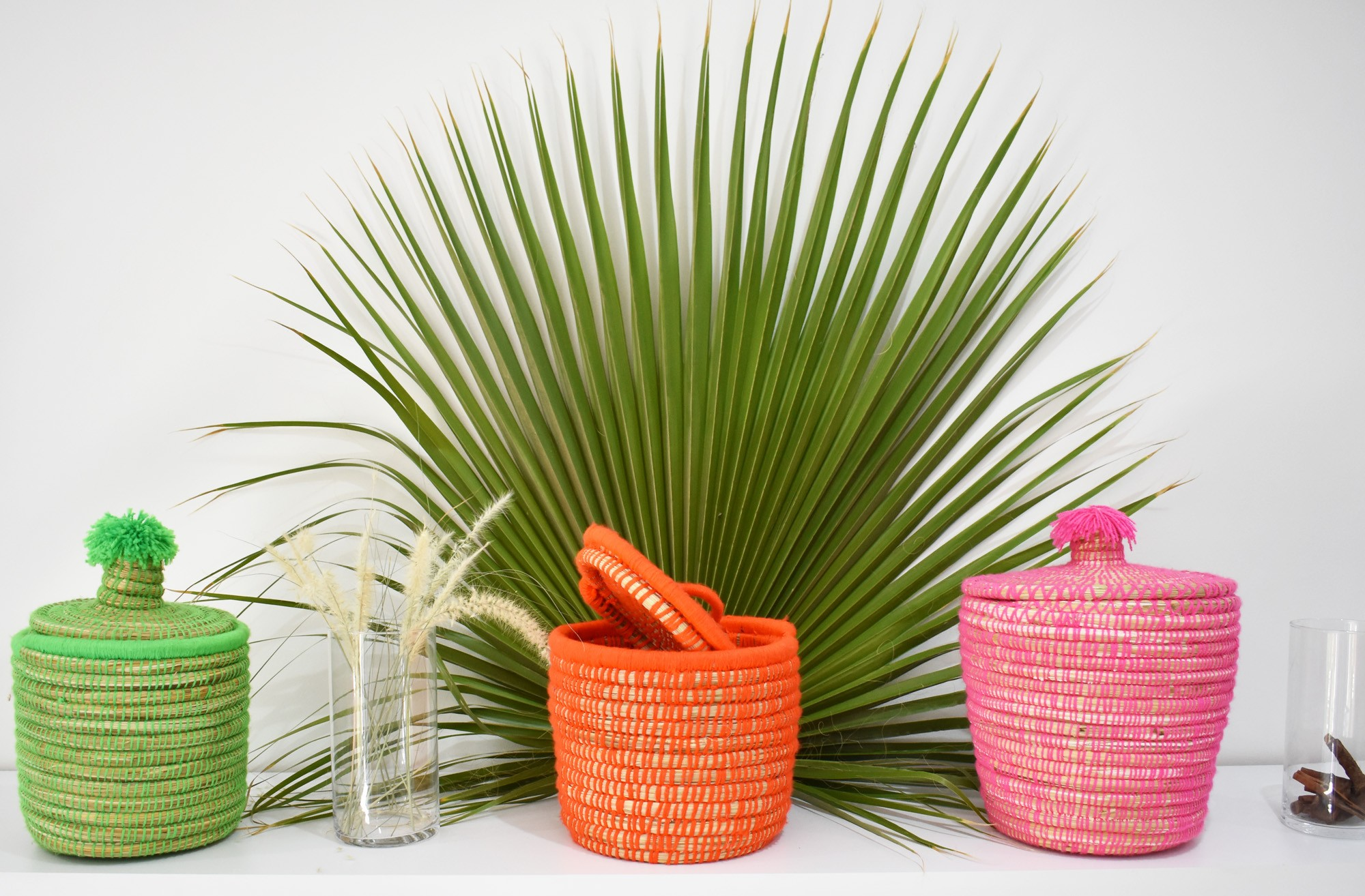 """Palm Tree Basket """"Pink"""""""