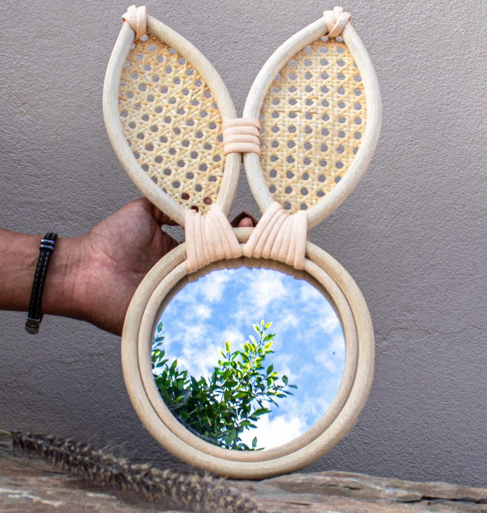 "Rattan Mirror ""Rabbit"""