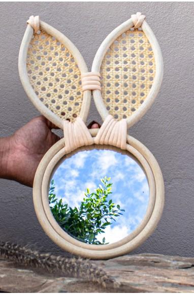 "Miroir en Rotin ""Lapin"""