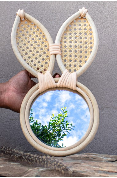"Rattan Mirror ""Rabbit"""