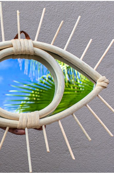 "Rattan Mirror ""Eye"""