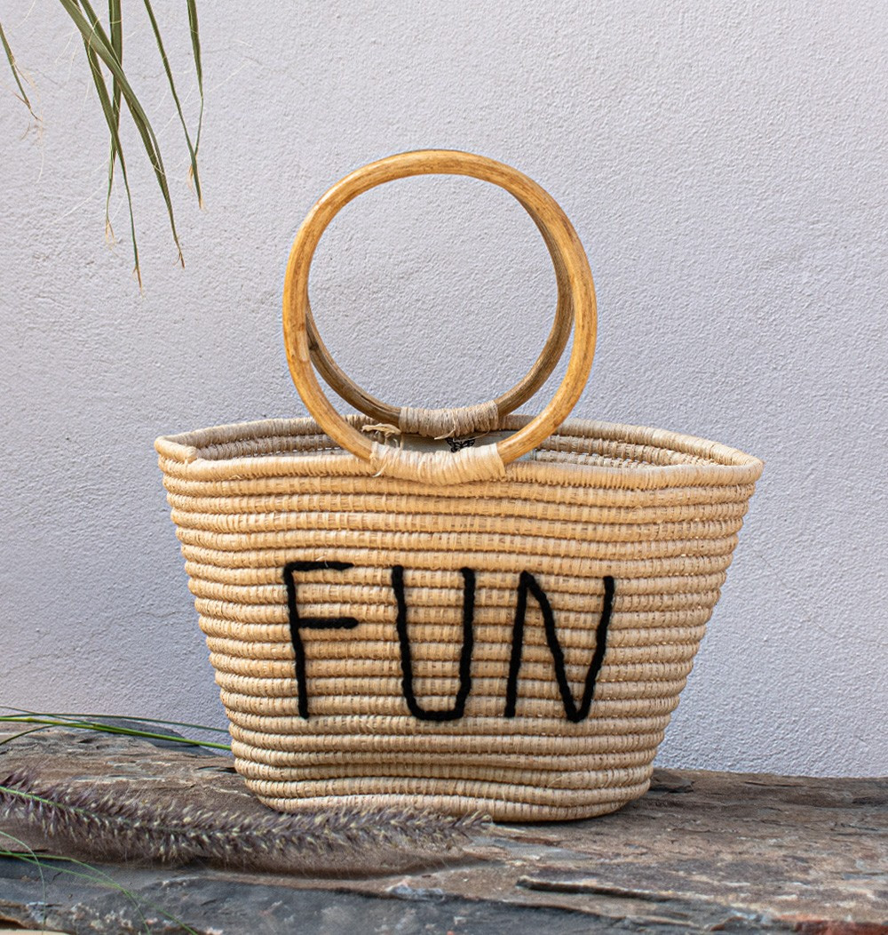 "Palm Tree and Rattan Basket ""Fun"""
