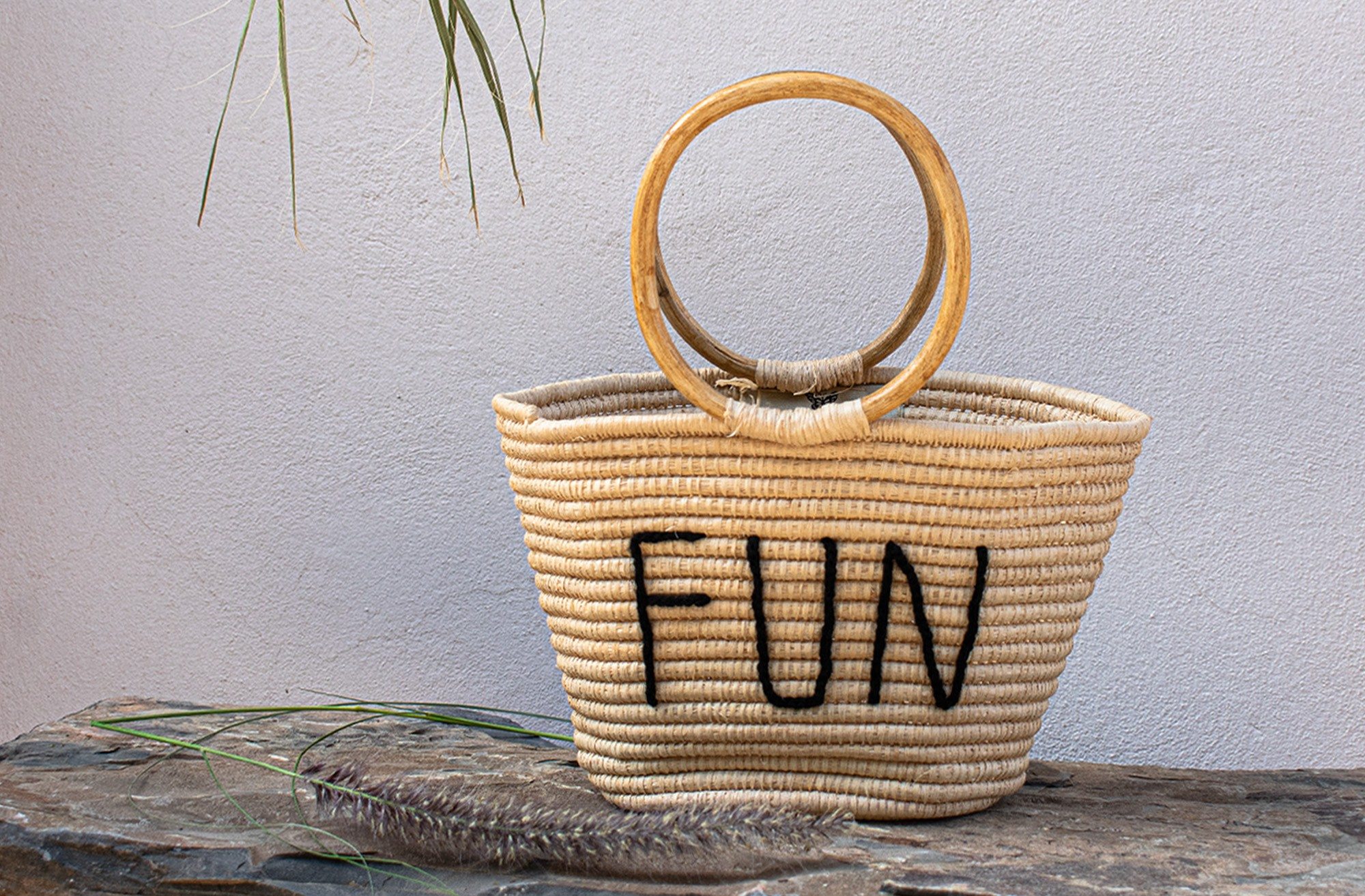 "Palm Tree and Rattan Basket ""Fun"""
