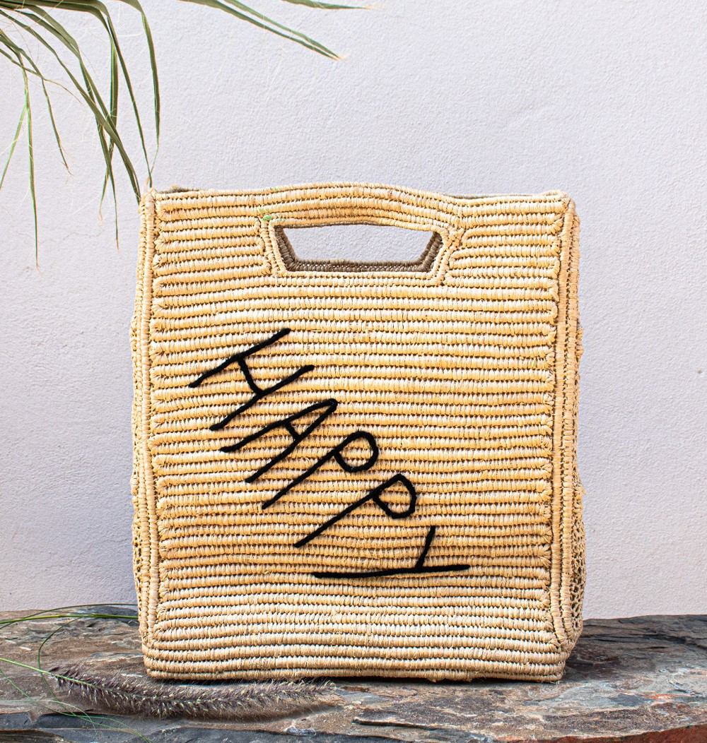 "Square Palm Basket ""Happy"""
