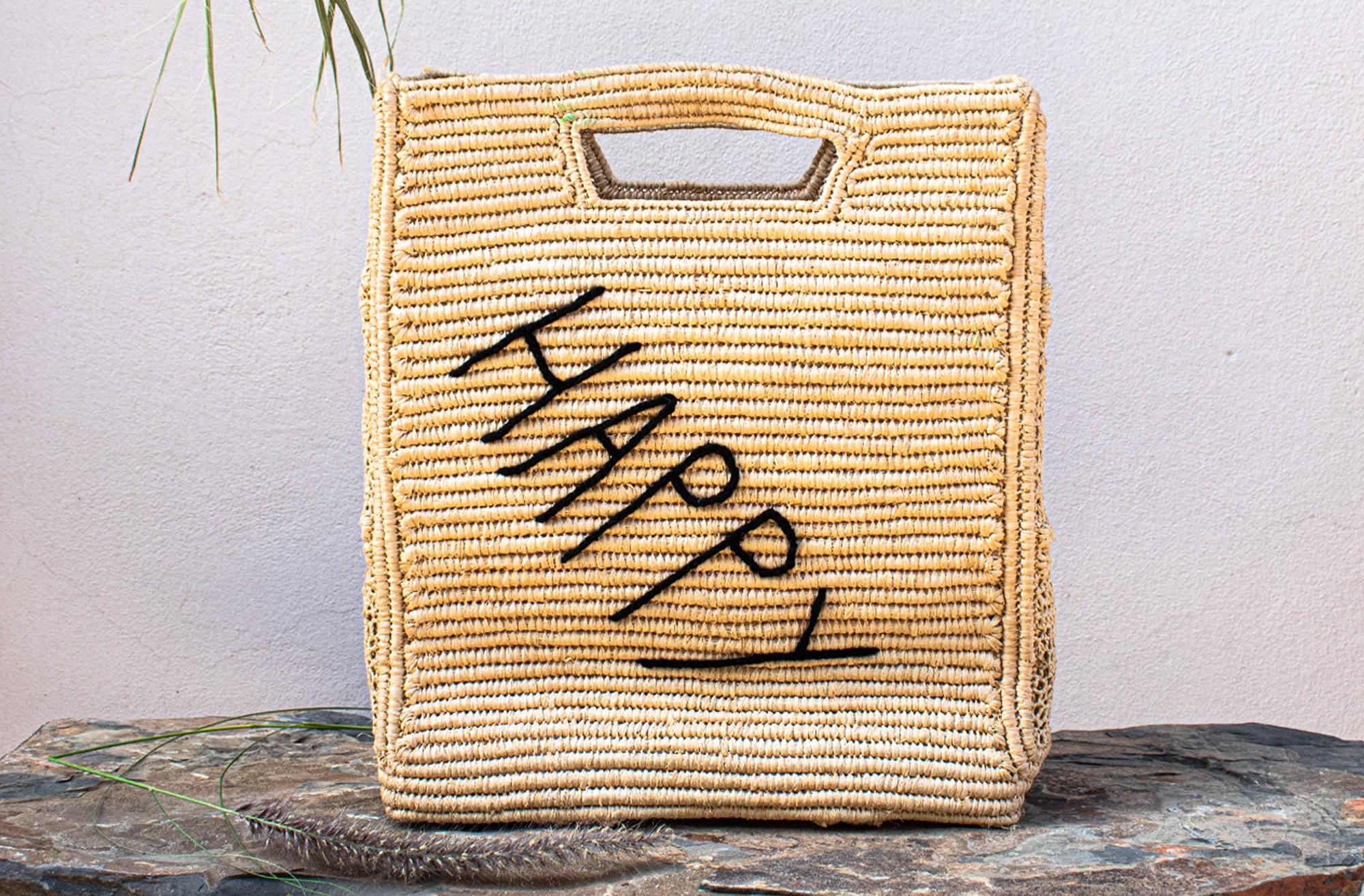 "Square Palm Basket ""Happy"""