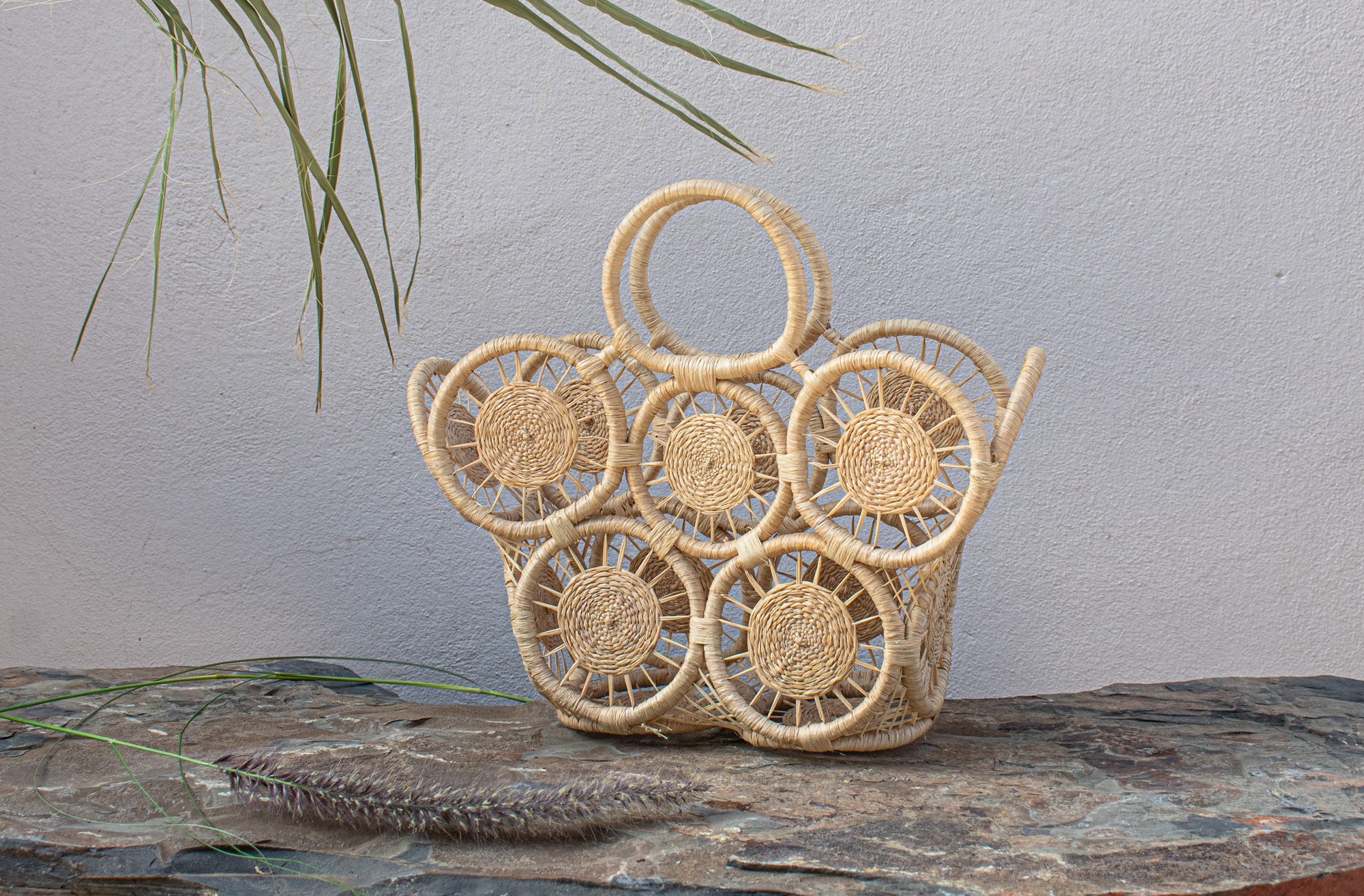 "Palm Tree and Rattan Basket ""Wheels"""
