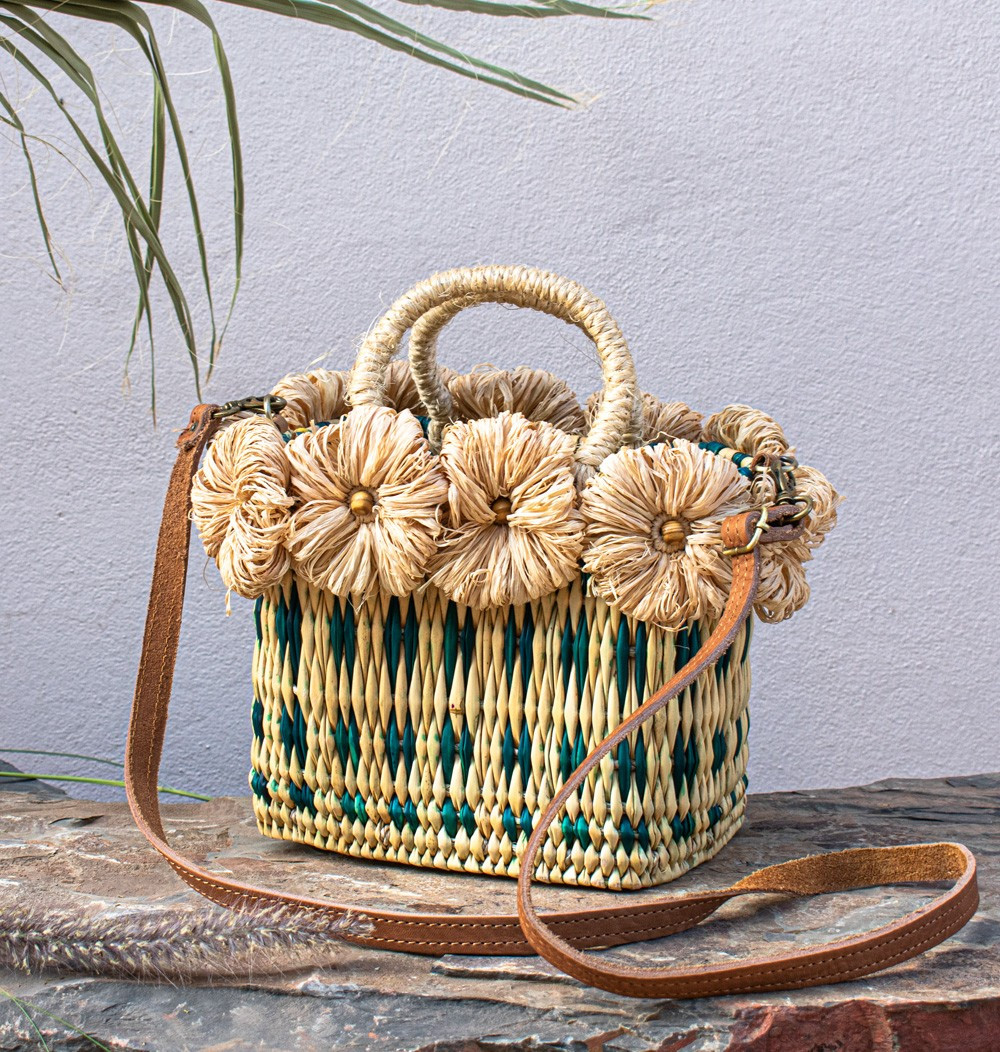 "Rattan and Rafia Basket ""Bicolore"""