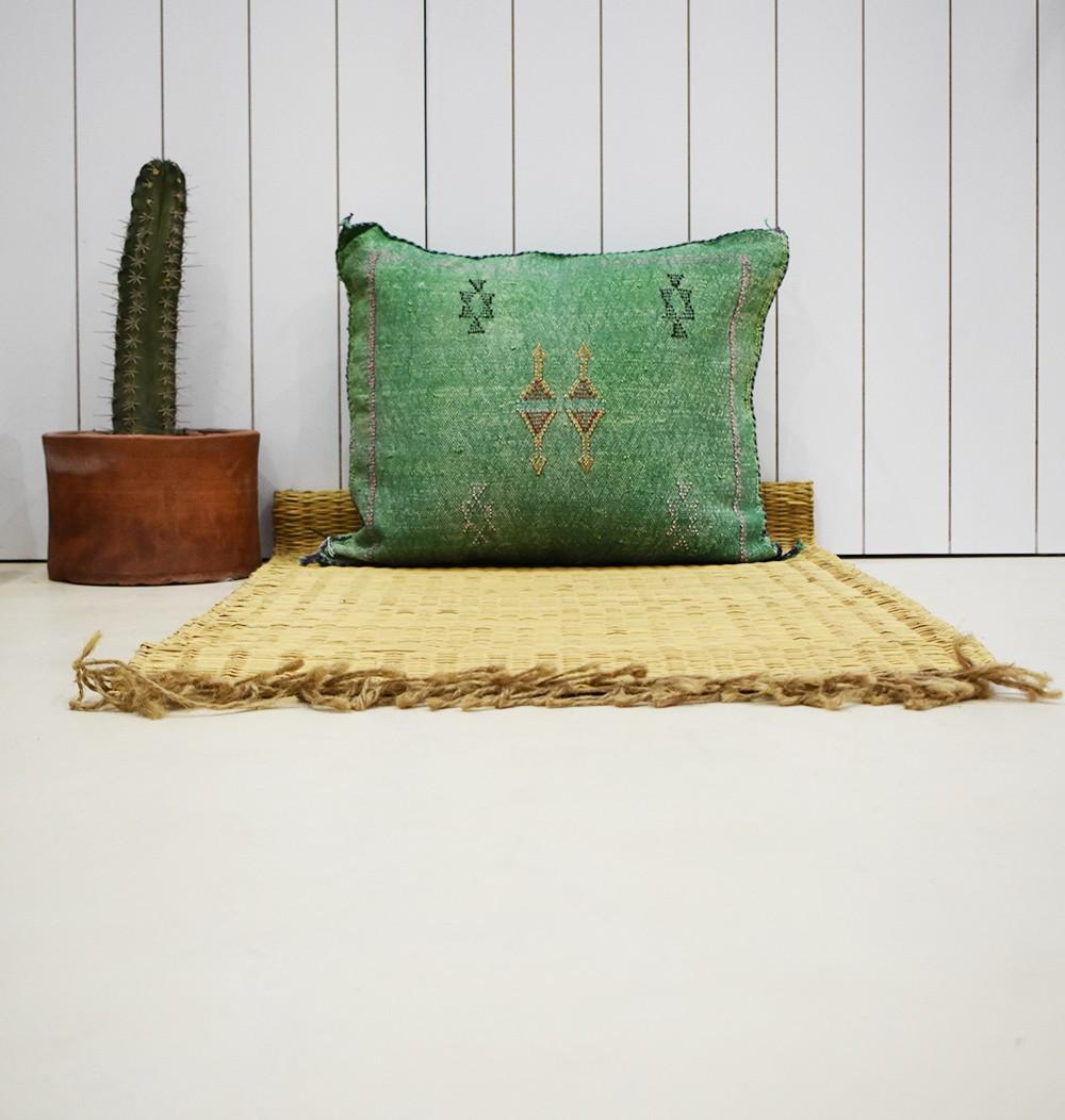 Berber cushion cover almond green