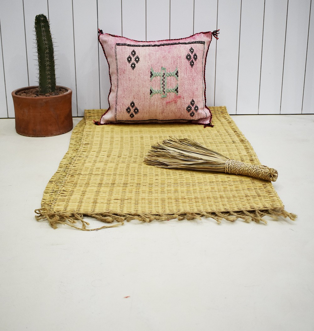Pink Berber cushion cover with black frame