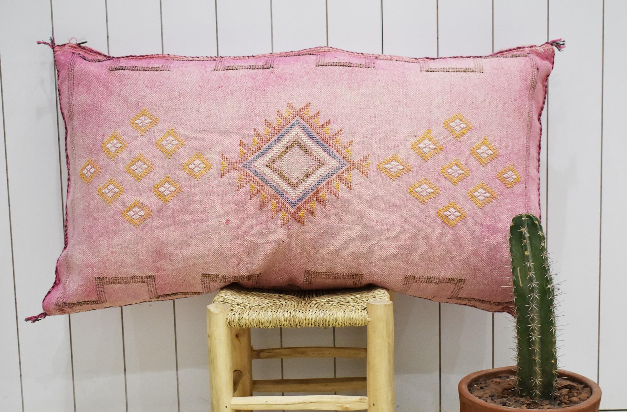 Traversin sabra rose motifs jaune