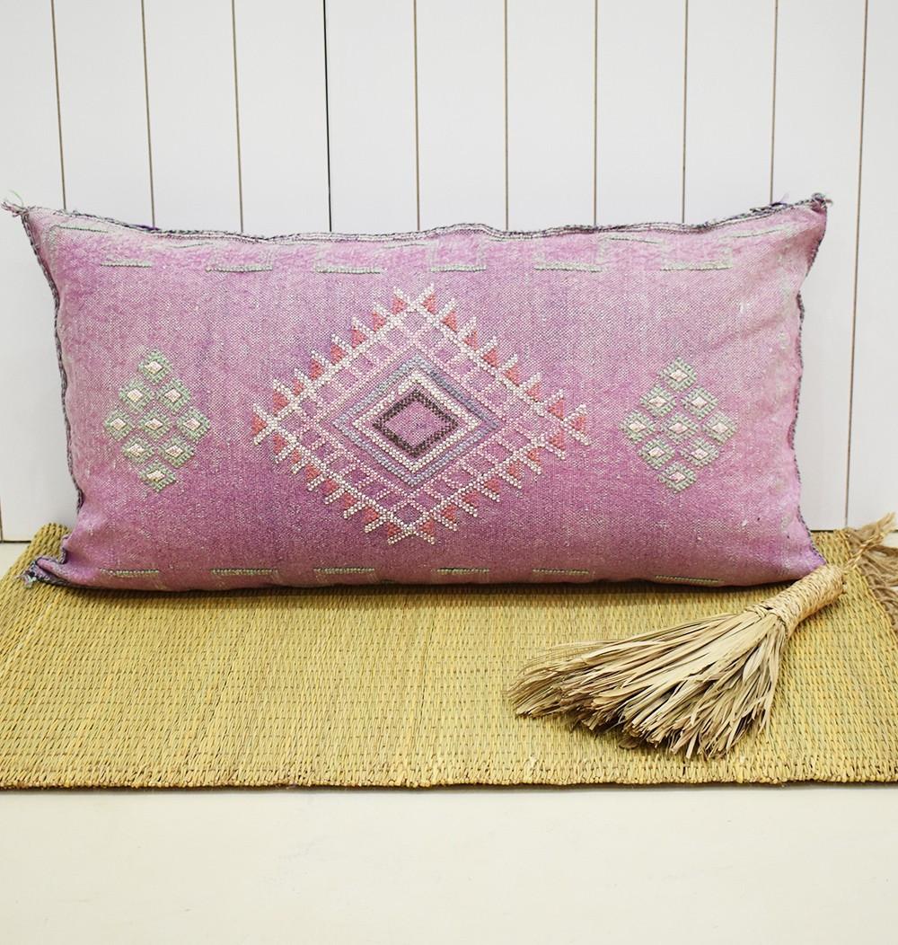 Traversin sabra violet petits motifs