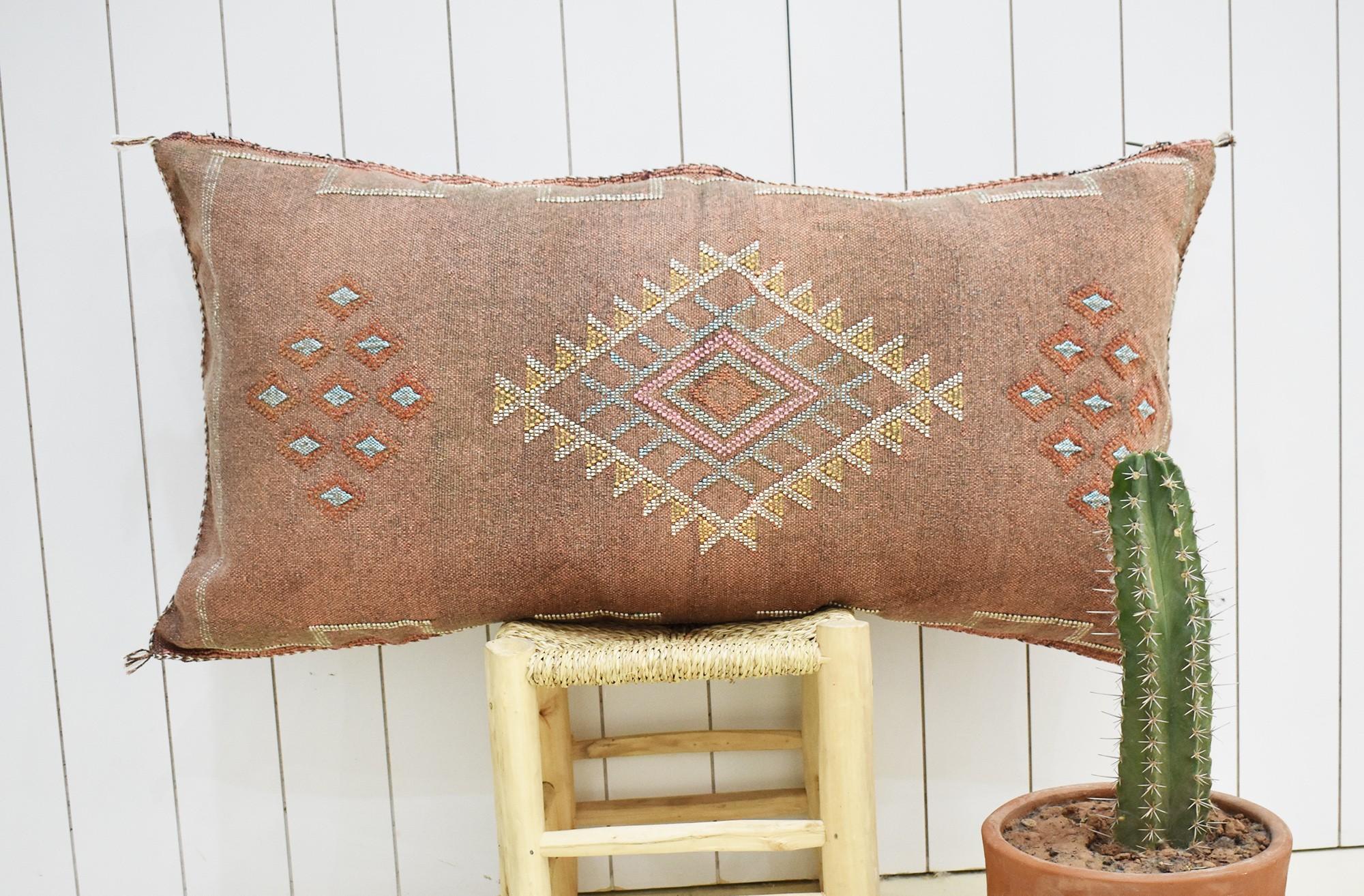Traversin sabra terre délavé petits motifs