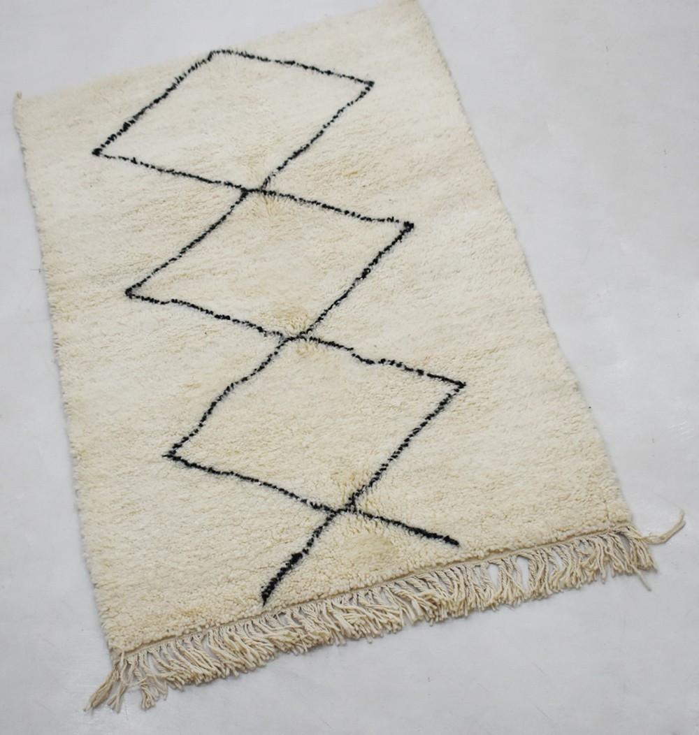Petit tapis Beni Ouarain trois losanges entiers double