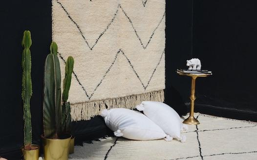 tapis noir et blanc et coussin blanc