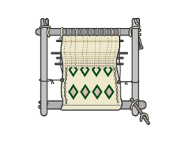 Loom weaving berber carpet