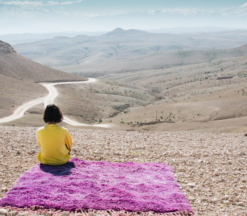 tapis berbere vintage violet desert agafay