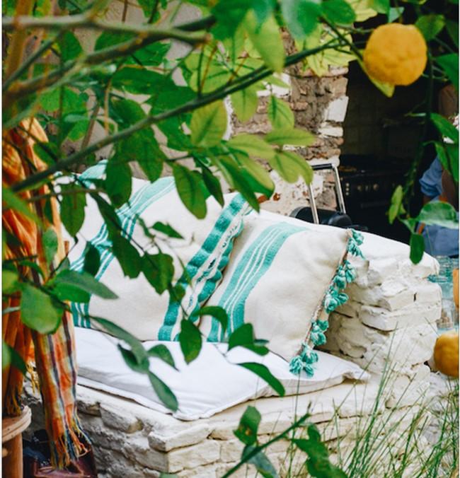 coussin berbere vert en kilim