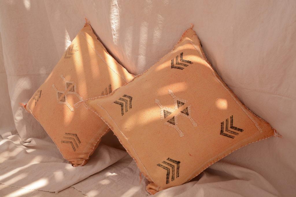 pair of yellow sabra vegetable silk cushions